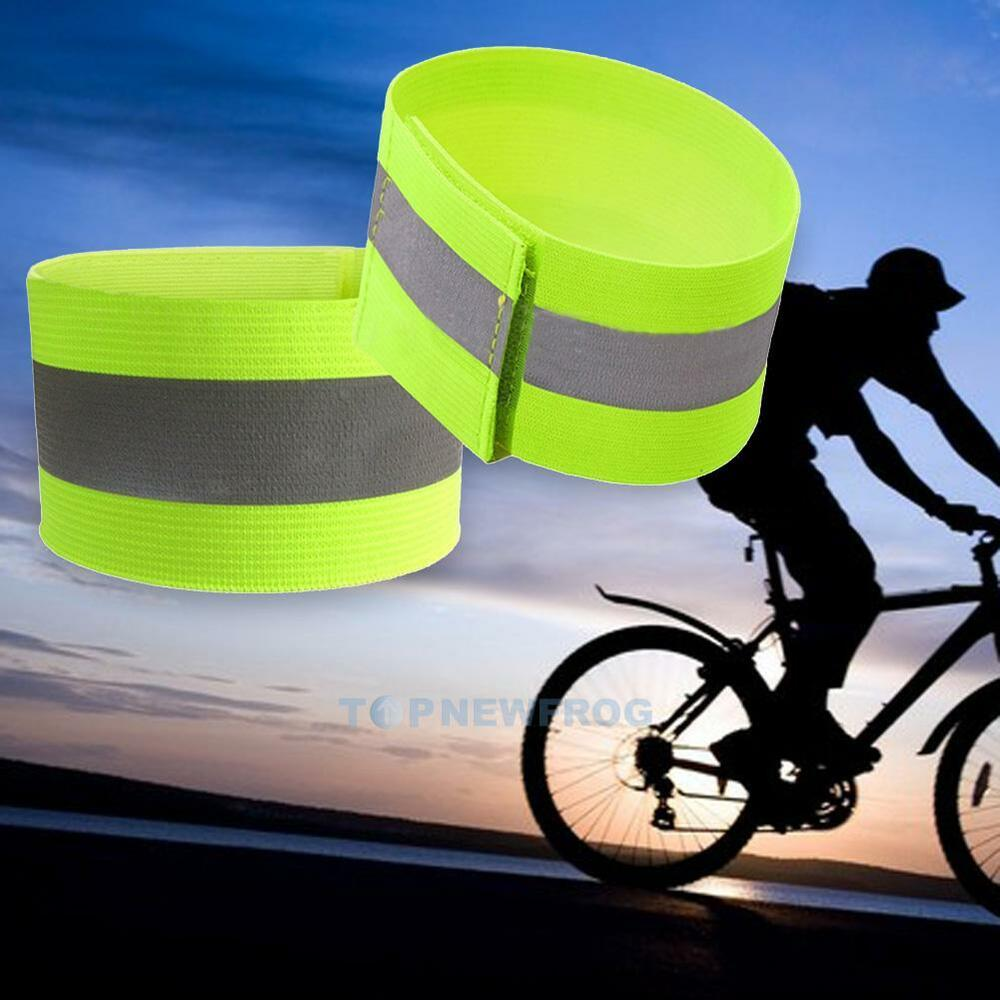 2 Bike Bicycle Reflective Safety Pant Band Leg//Arm Strap Cycling Reflective Tape