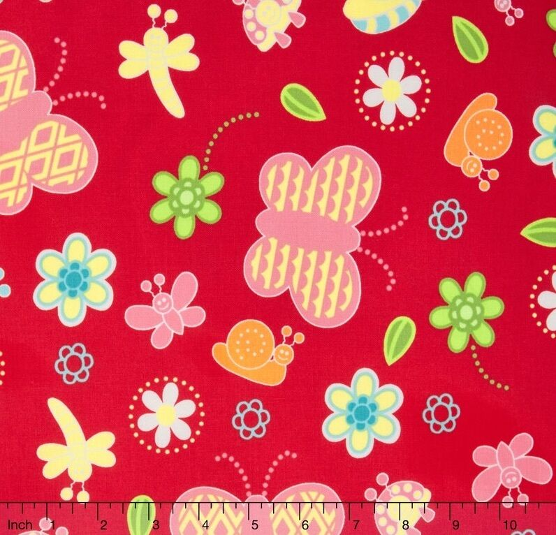 Bugsy kids butterfly floral on red 100 cotton fabric by for Childrens cotton fabric by the yard