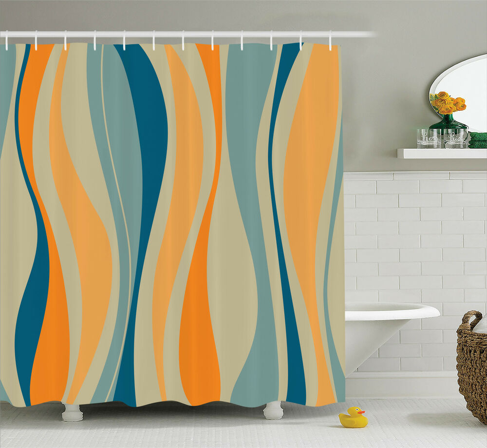 Details About Retro Vibrant Stripes 60s Design Pattern Print Abstract Art Shower Curtain Set