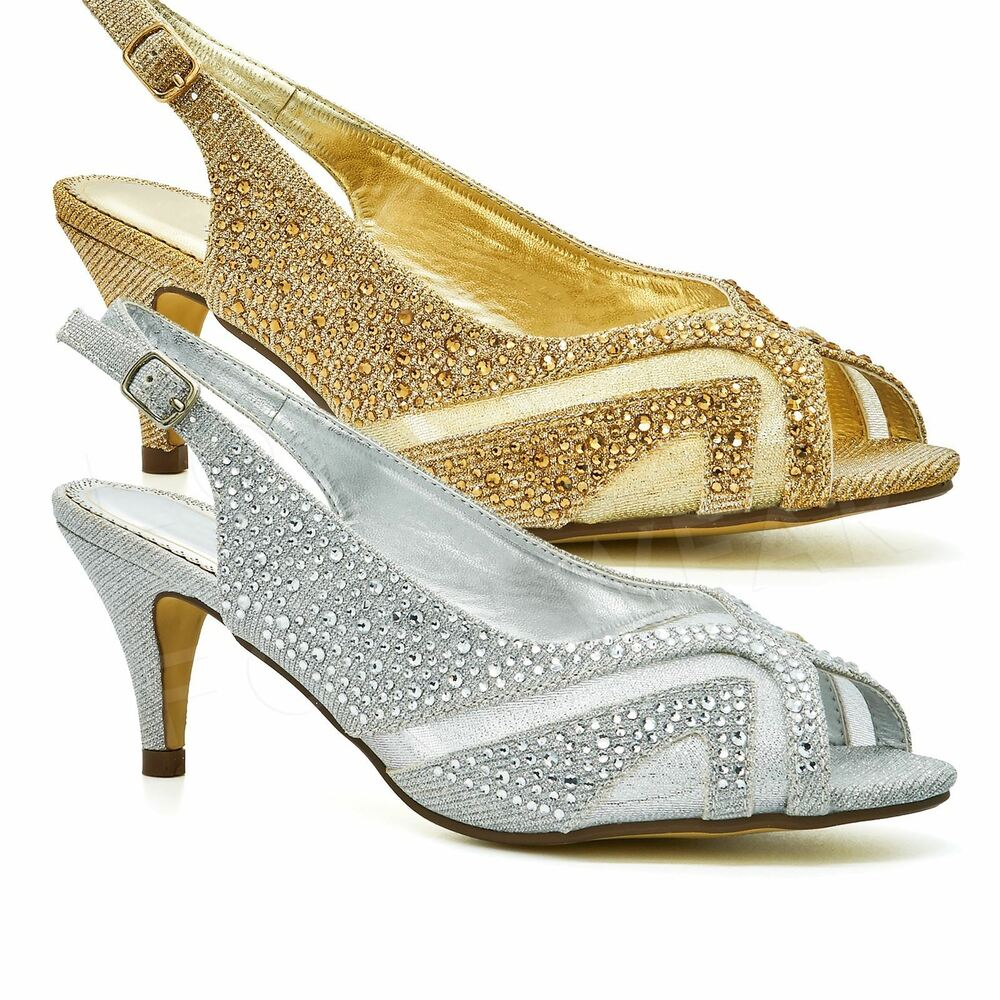 0ab9f0890245 Details about Ladies Low Kitten Heels Court Shoes Womens Diamante Bridal  Peep Toe Party Prom