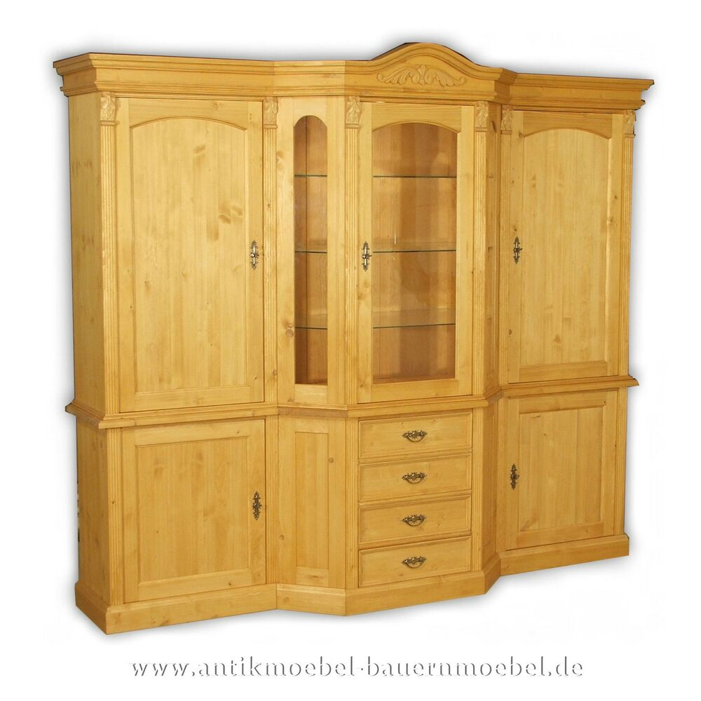 wohnzimmerschrank schrankwand massiv holz landhausm bel gr nderzeit weichholz ebay. Black Bedroom Furniture Sets. Home Design Ideas