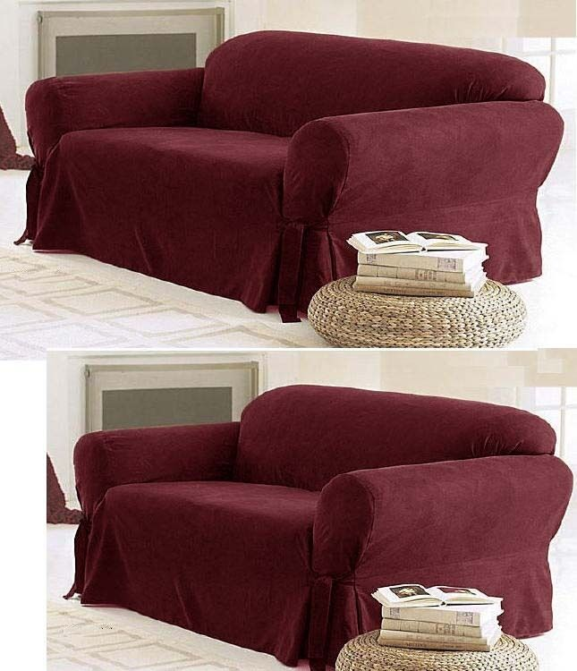 Slipcover Sofa Set: SOLID SUEDE Couch Covers 3 Piece Burgundy Slipcover Set