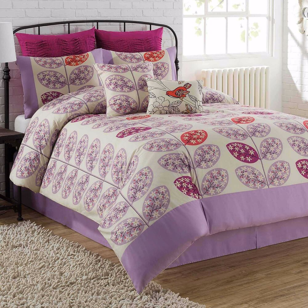 Queen Comforter Sets Purple: 8-Pc Soho Lucia Queen Comforter Set Floral Branches Purple
