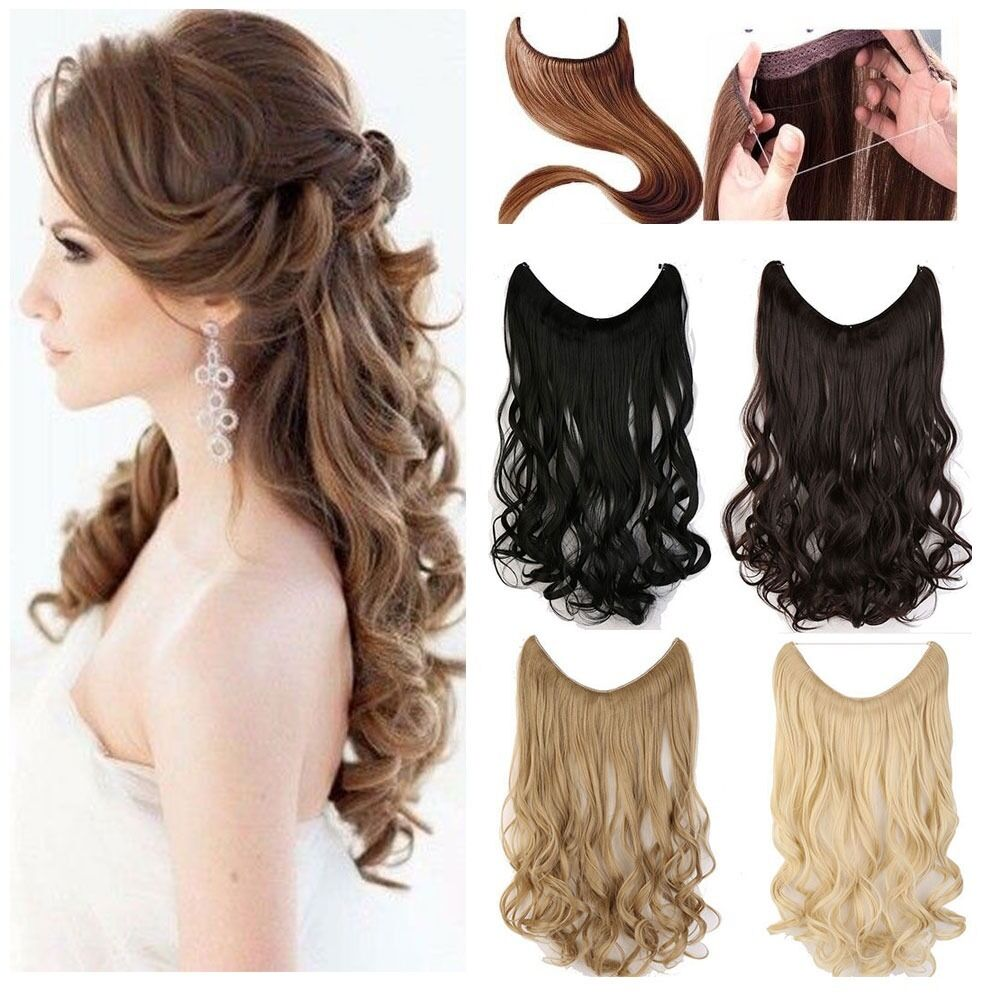 Long Real Straight Curly Wire Headband One Piece Clip In