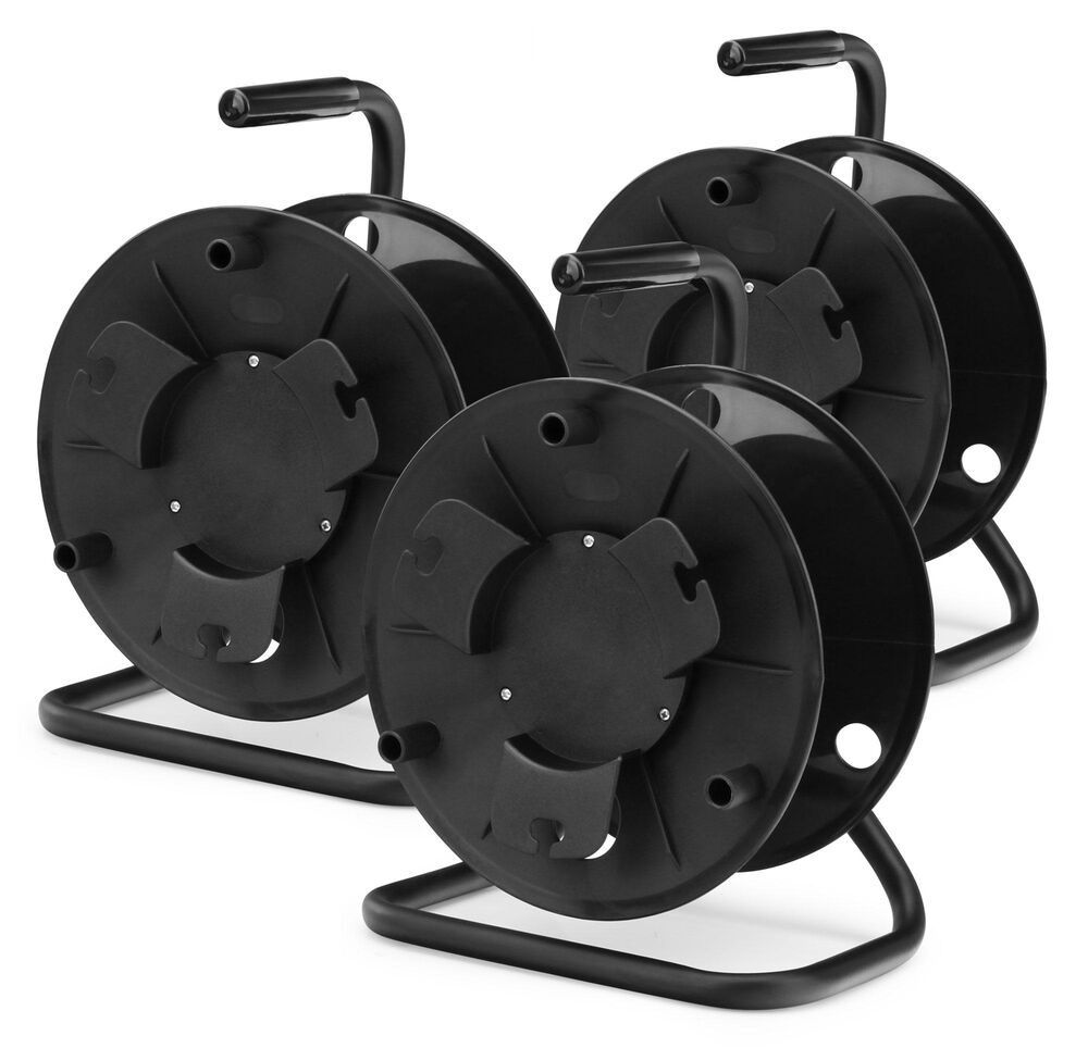 3x CABLE DRUM ROLLER REEL HEAVY DUTY SPOOL STEEL FRAME HANDLE SET ...