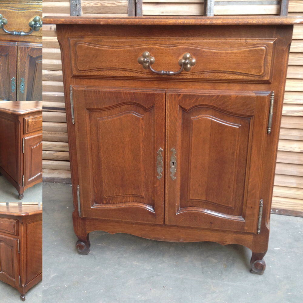 petit meuble louis xv deux portes un tiroir ch ne fine sculpture xx si cle ebay. Black Bedroom Furniture Sets. Home Design Ideas