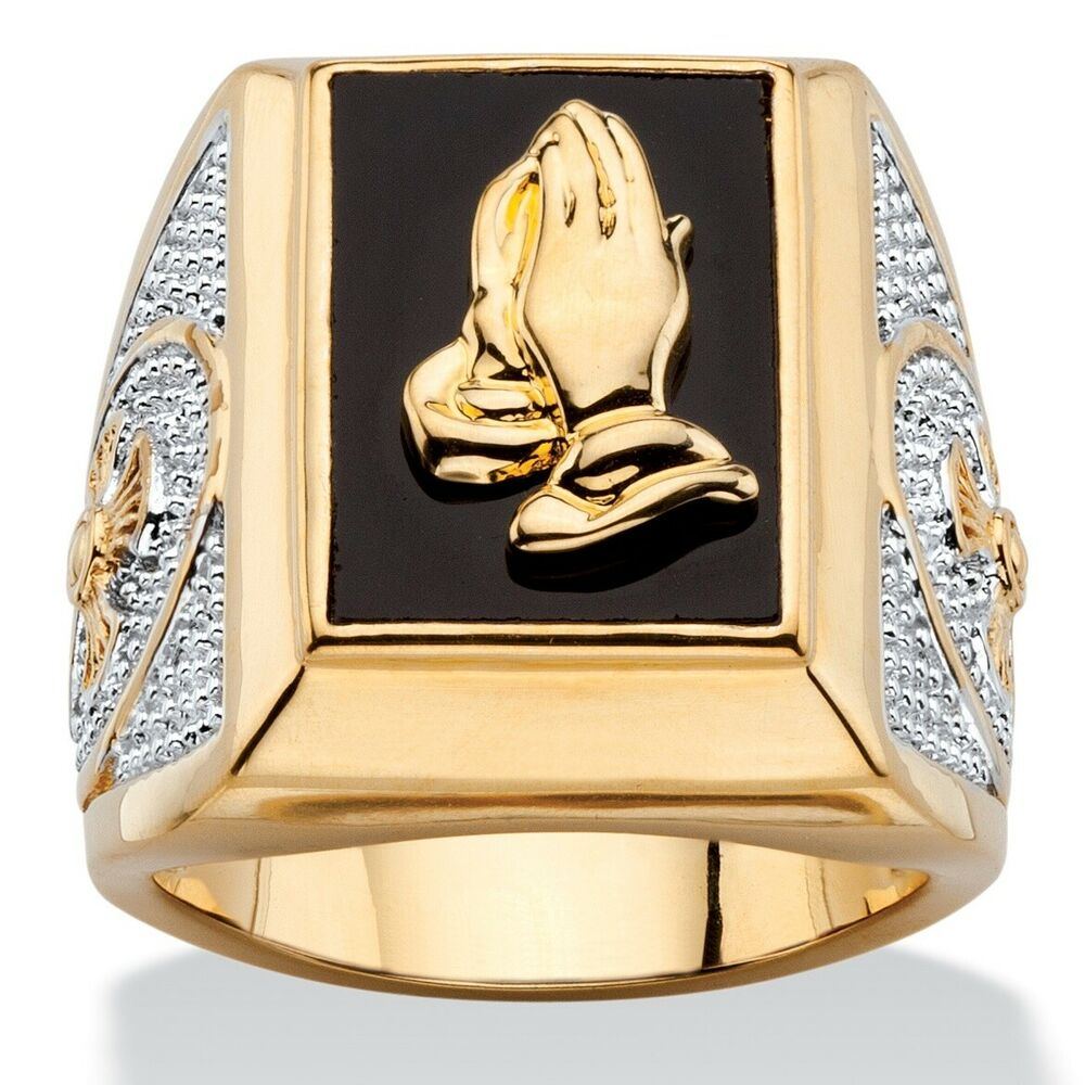 palmbeach jewelry men 39 s genuine black onyx 14k gold plated praying hands ring ebay. Black Bedroom Furniture Sets. Home Design Ideas