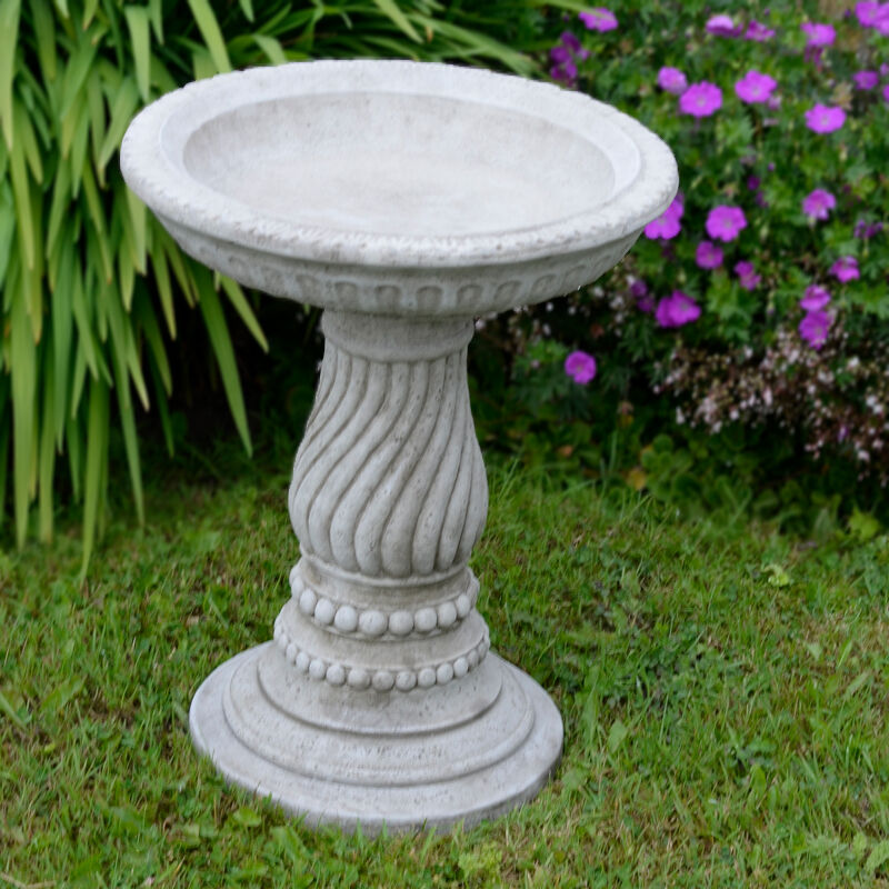 twist bird bath feeder hand cast stone garden ornament. Black Bedroom Furniture Sets. Home Design Ideas