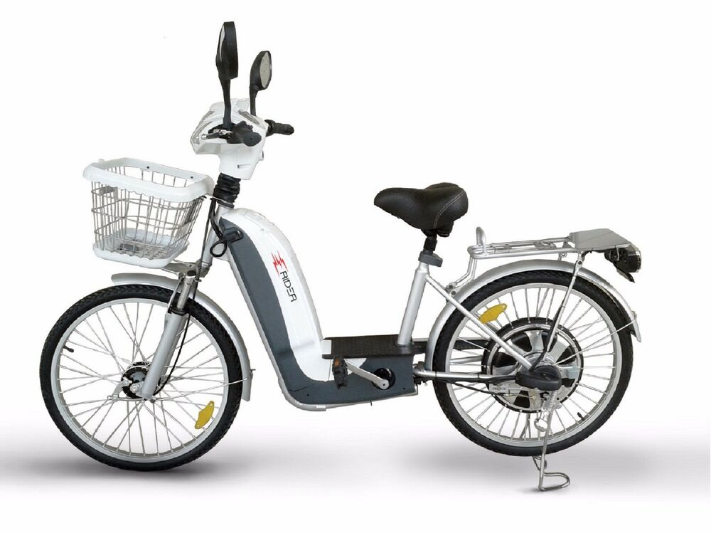 e shopper electric scooter bike white finish ebay. Black Bedroom Furniture Sets. Home Design Ideas