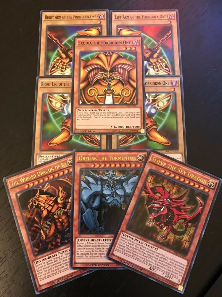 yugioh tcg exodia egyptian god cards obelisk slifer ra 8 card set ldk2 ebay. Black Bedroom Furniture Sets. Home Design Ideas