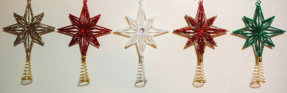 mini tree topper stars 5 colors great glittered tree toppers choose your color ebay. Black Bedroom Furniture Sets. Home Design Ideas