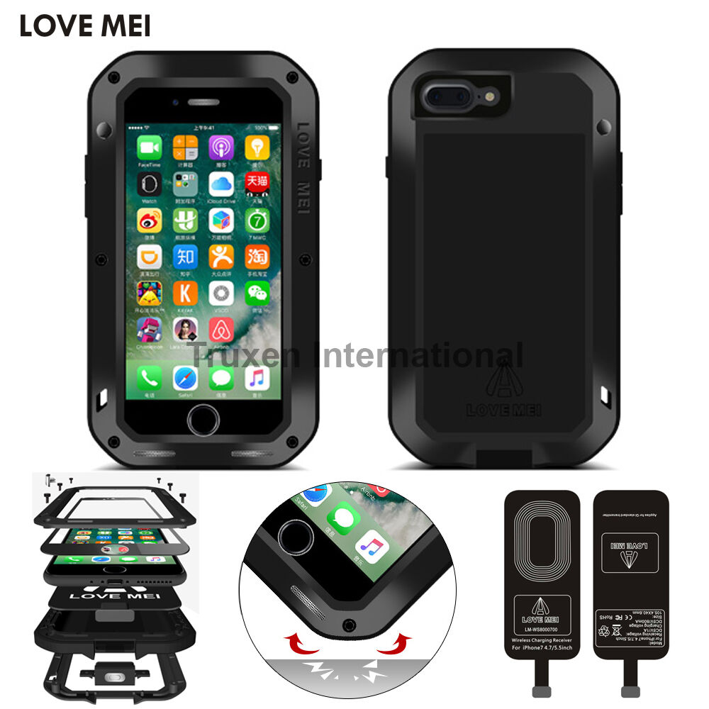 love mei waterproof qi wireless charging tpu metal case. Black Bedroom Furniture Sets. Home Design Ideas