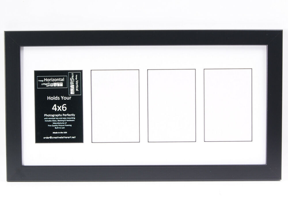 4 Opening Glass Face 10x20 Black Picture Frame Holds 4x6