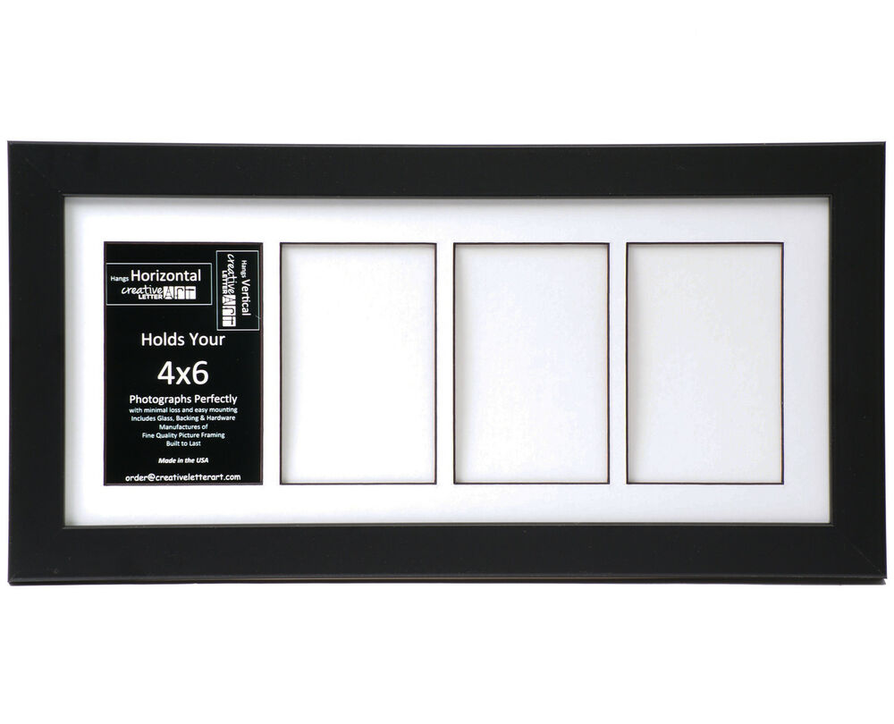 4 Opening Glass Face 8x18 Black Picture Frame Holds 4x6
