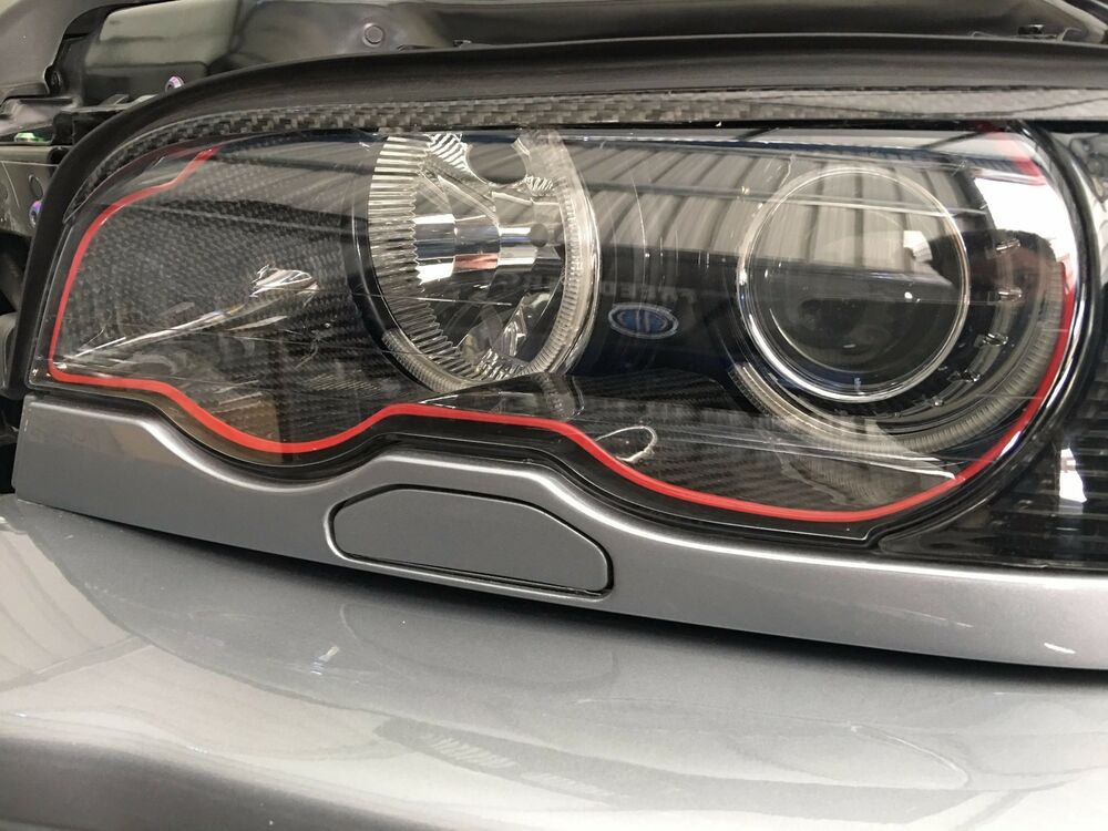 inner headlight trim for bmw e46 carbon fiber ebay. Black Bedroom Furniture Sets. Home Design Ideas