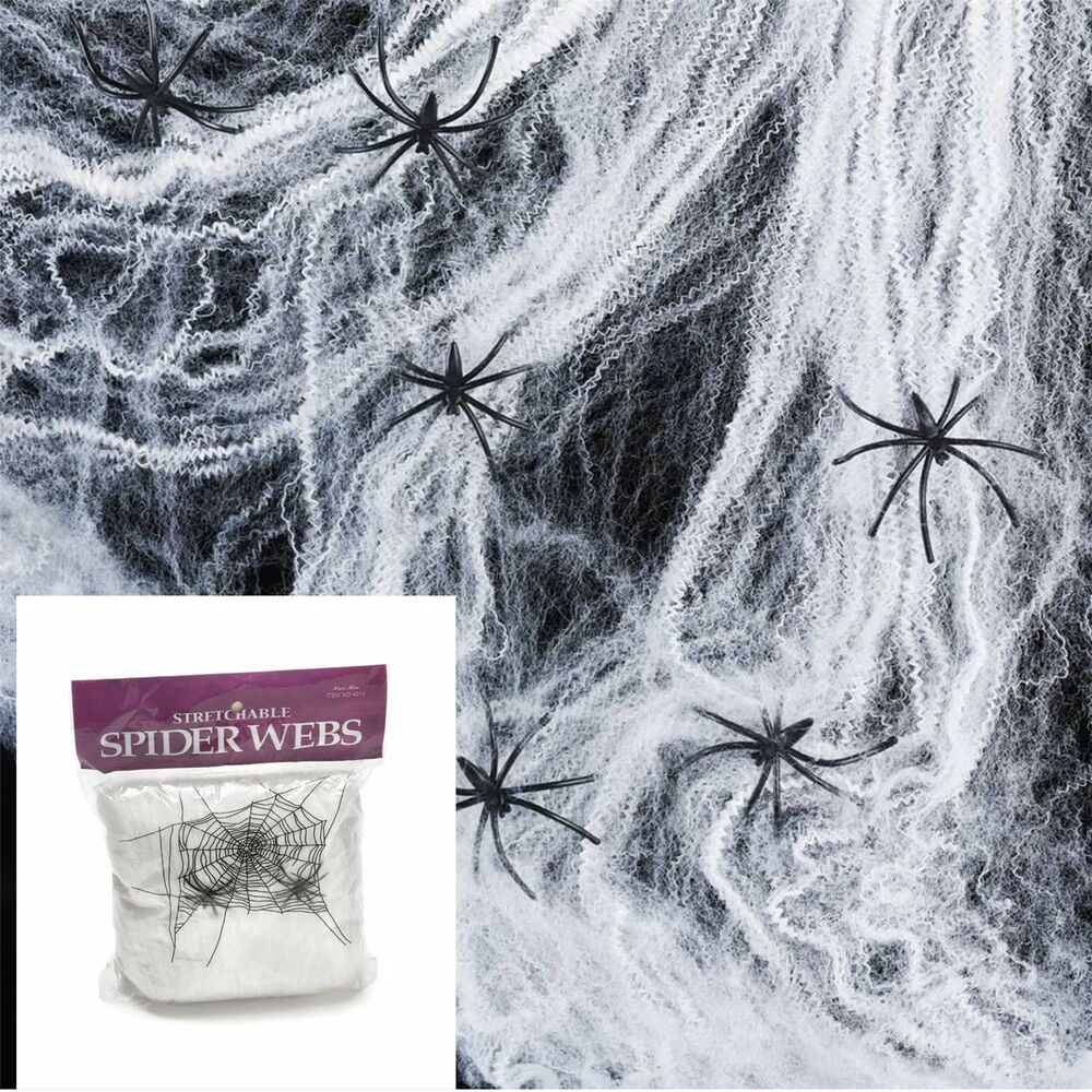 Web Decor: Halloween Spider Web With 4 Black Spider Stretchable