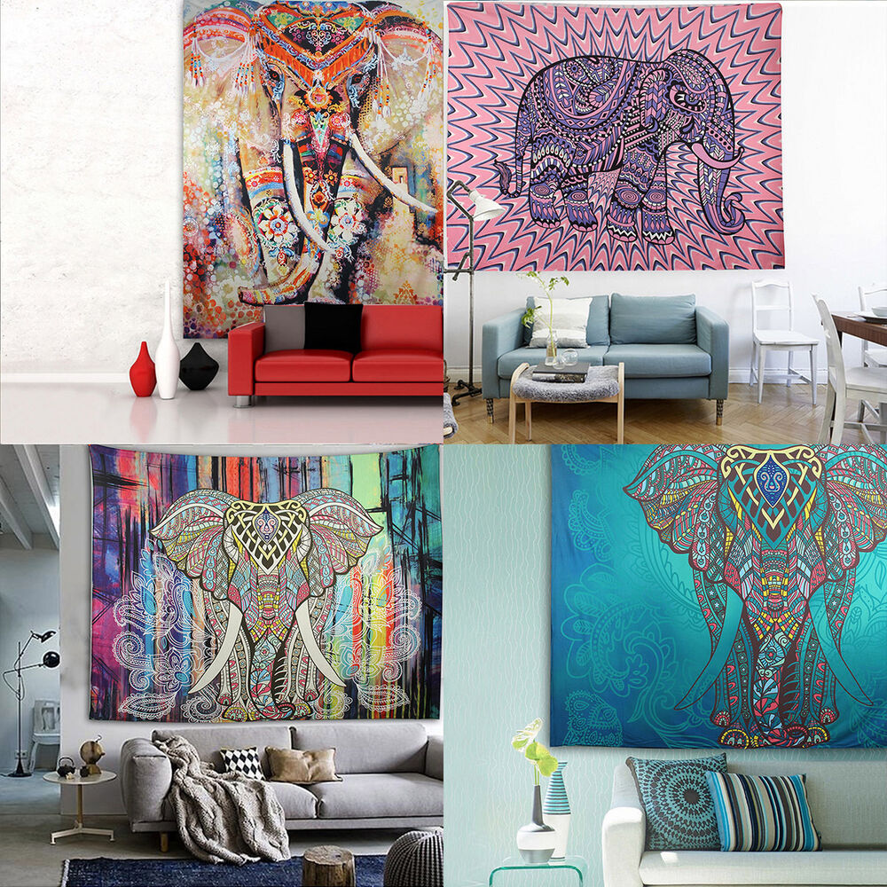 Indian hippie mandala tapestry elephant wall hanging for Advanced molding and decoration s a de c v