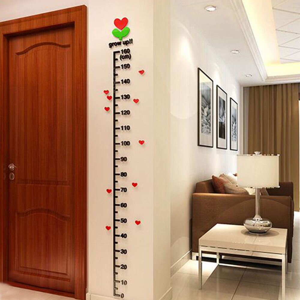 Removable 3d Height Chart Measure Kids Growth Wall Sticker