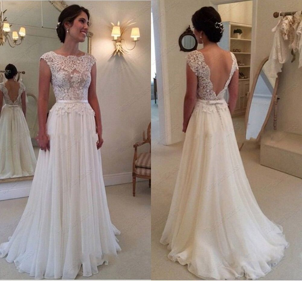 2017 lace beach wedding dresses backless bridal gown stock for Ebay wedding dresses size 12