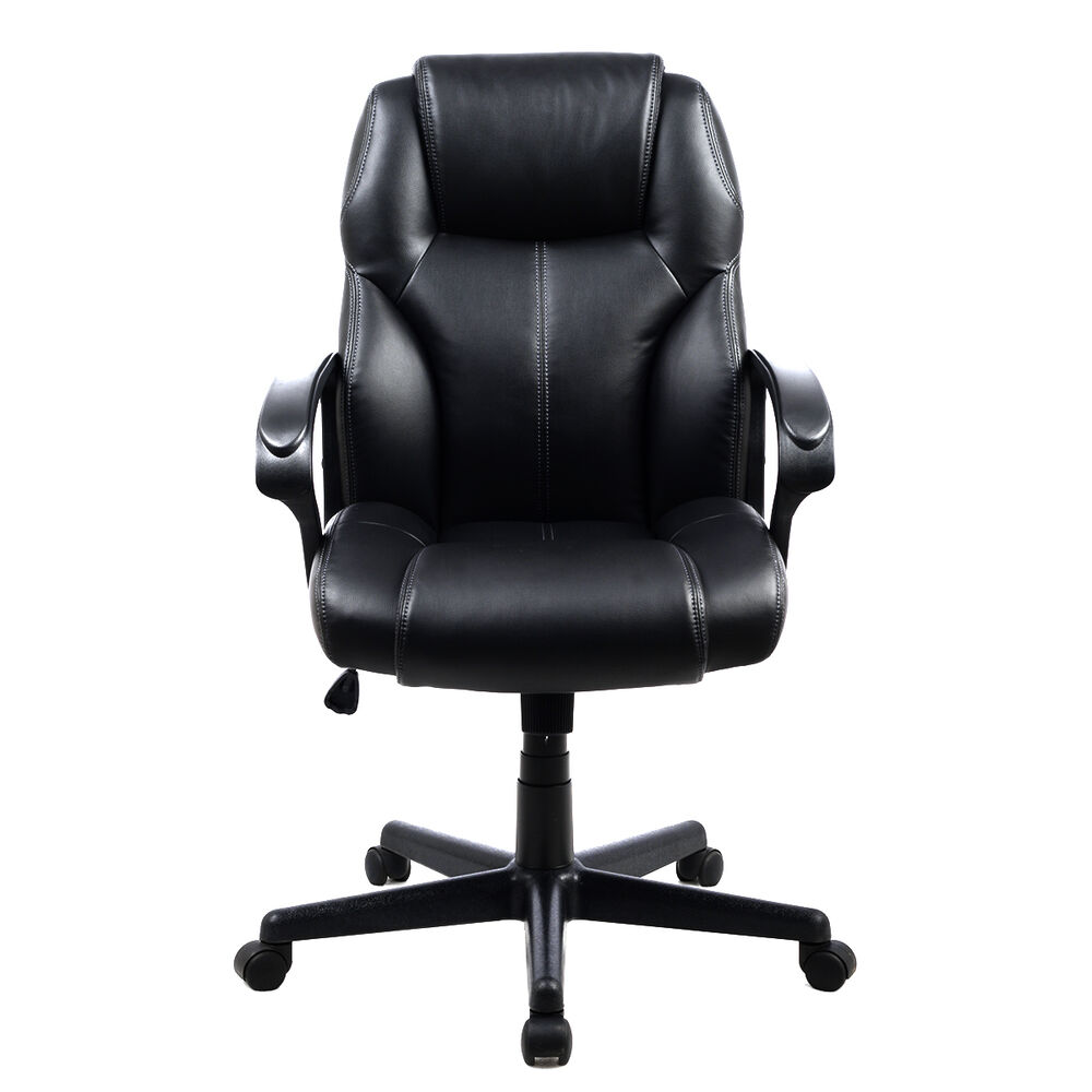 PU Leather Ergonomic High Back Executive Computer Desk Task Office Chair Blac