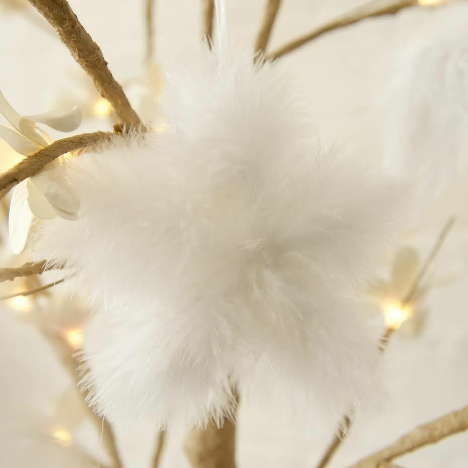 White Vintage Feather Hanging Christmas Tree Star Bauble