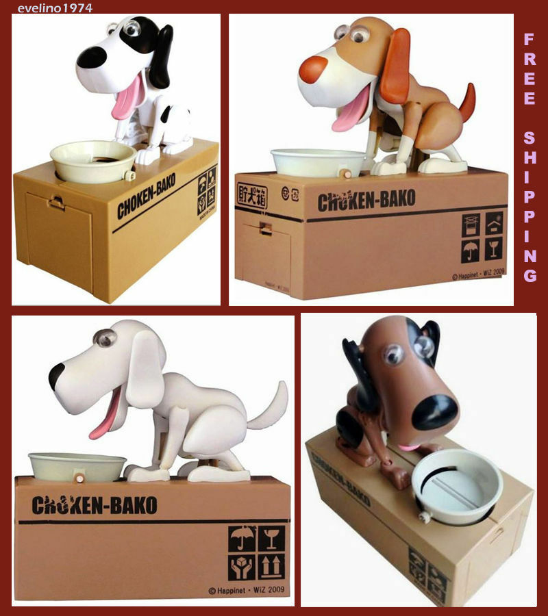 hungry puppy interactive dog pig bank money boxes funny. Black Bedroom Furniture Sets. Home Design Ideas