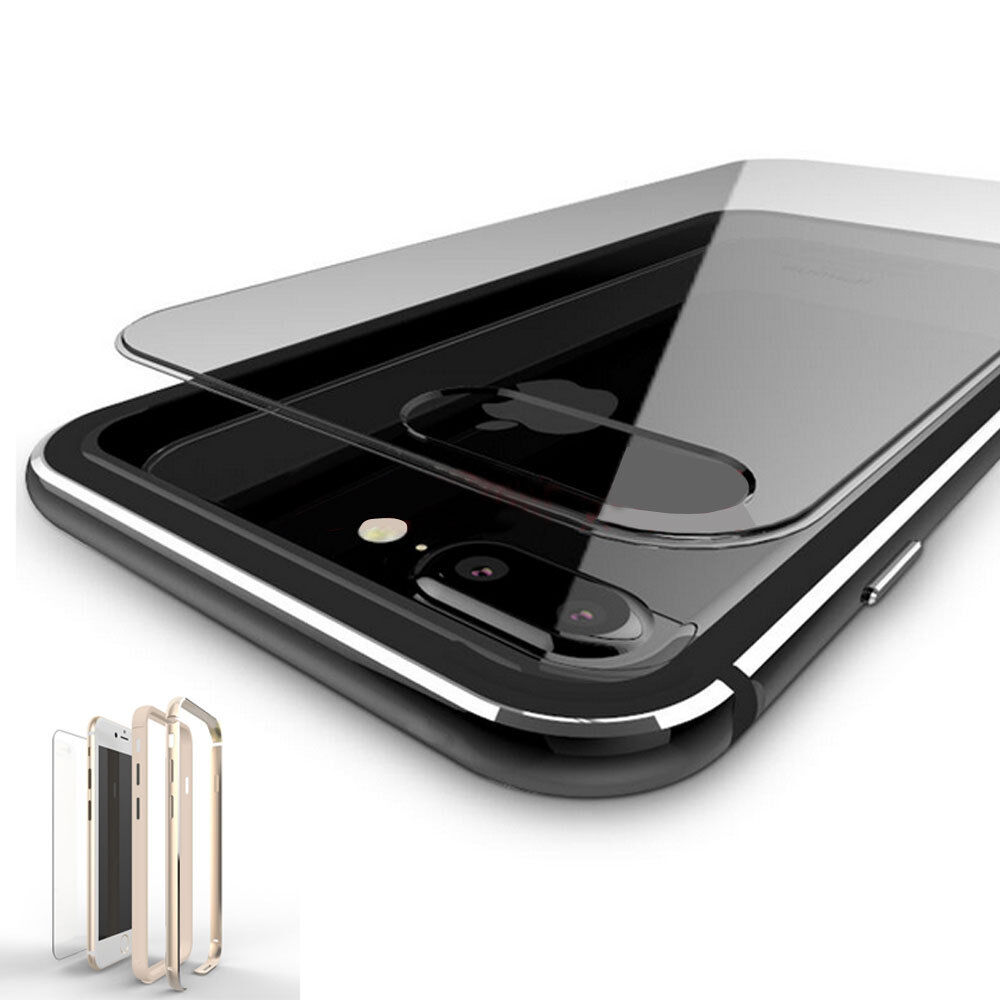 iphone bumper case clear plastic back aluminum metallic bumper 11665