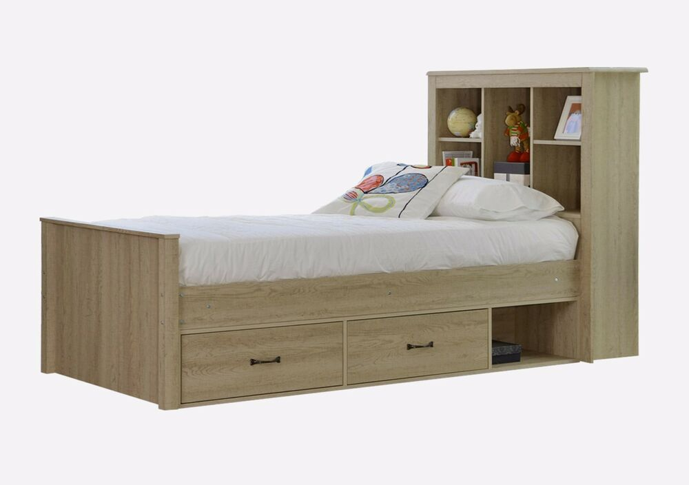 King single bed with bookshelves and drawers oak ebay for Single bed with drawers and mattress