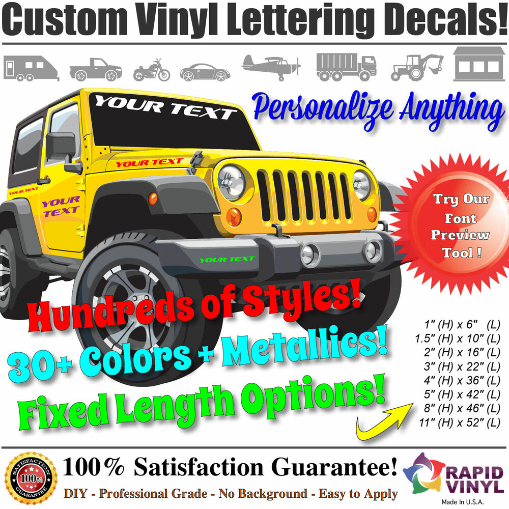 Custom vinyl lettering decal sticker business car boat for Custom vinyl lettering for cars