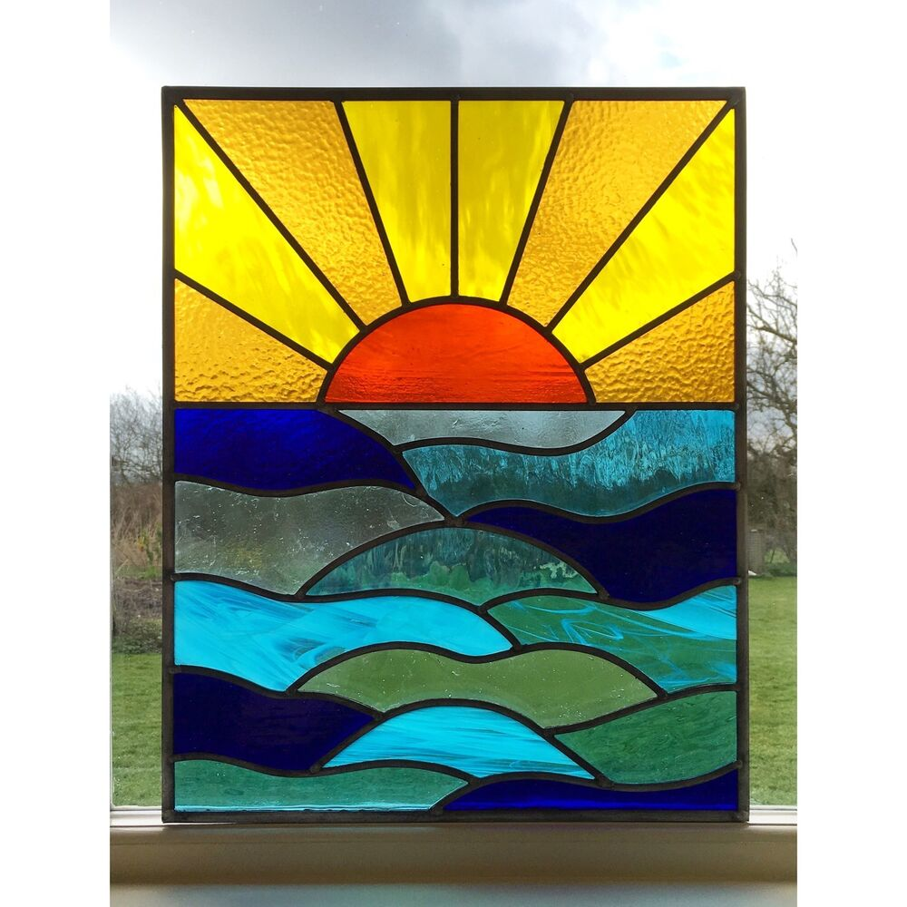 Handmade stained glass window door panel sun set sea for Glass windows