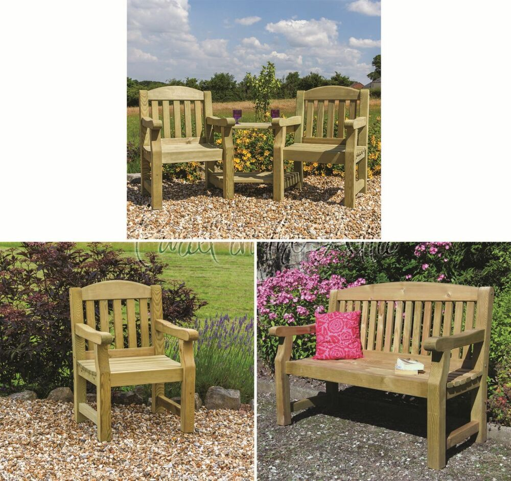 Elda solid wood outdoor furniture garden dining set table chairs companion bench ebay - Garden furniture table and chairs ...