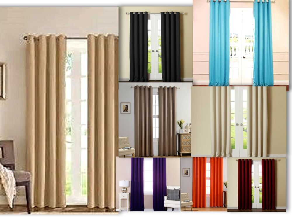 Amy Solid Thermal Blackout Grommet Curtain 2panels 74 Wide Reflects Sun Light Ebay