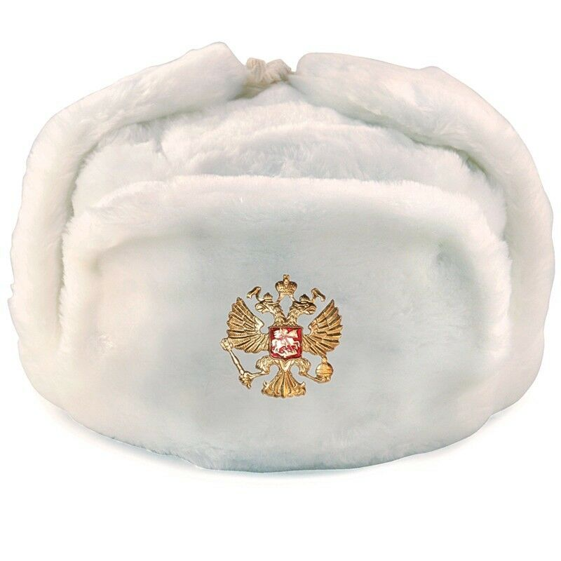 Details about RUSSIAN WHITE MILITARY WINTER USHANKA HAT WITH RUSSIA BADGE!!!  ALL SIZES!!! 842d5e9b2184