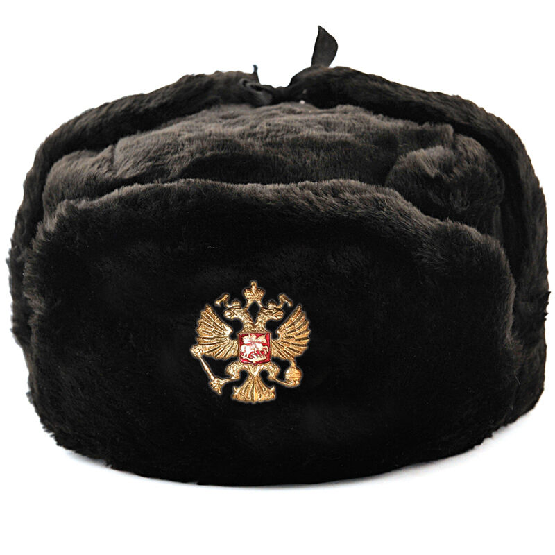 Details about RUSSIAN BLACK MILITARY WINTER USHANKA HAT WITH