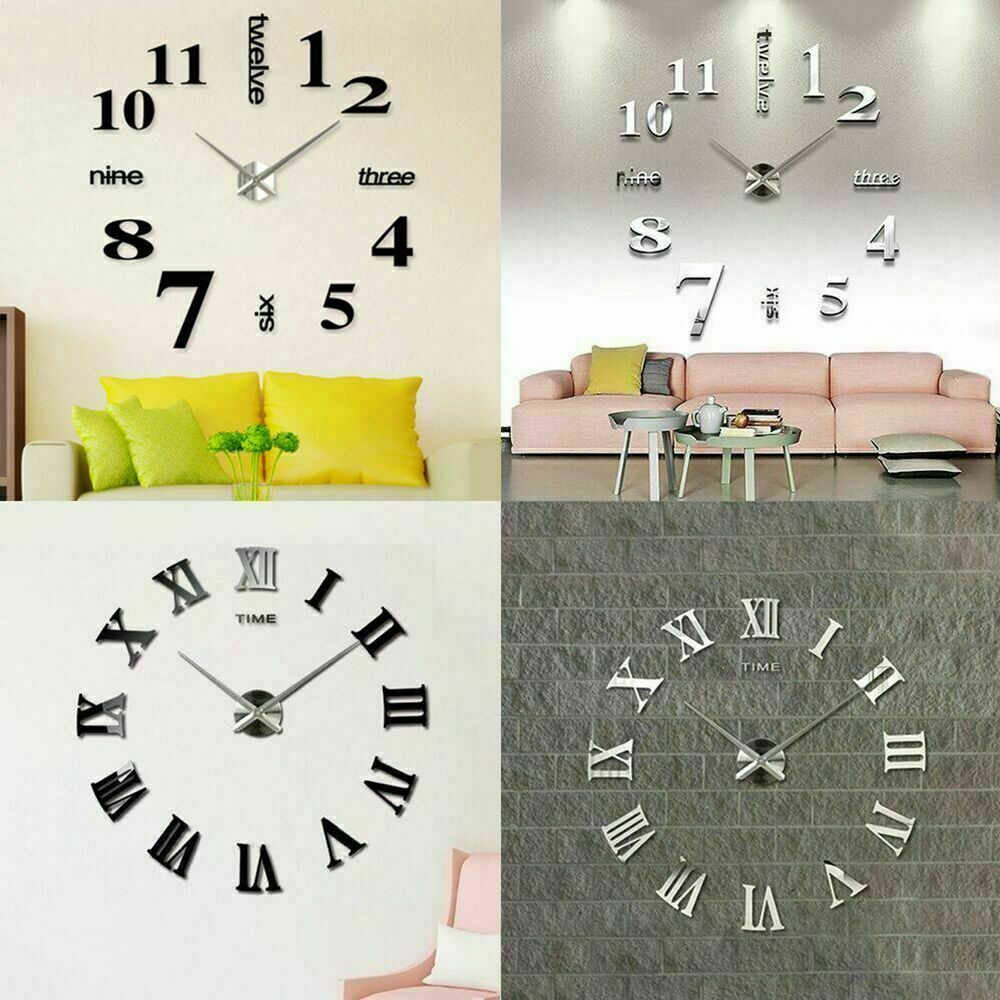 Modern DIY Large Wall Clock Kit 3D Mirror Surface Sticker ...