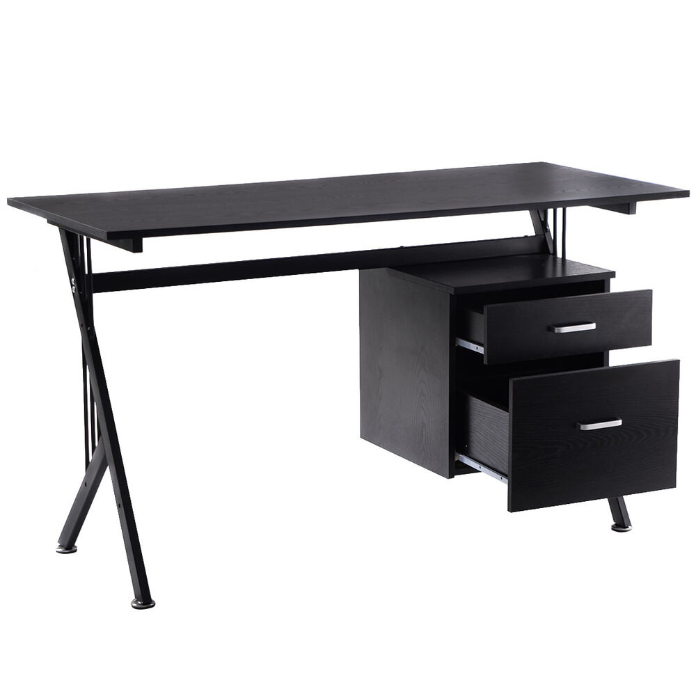 wood computer desk laptop writing table workstation home office black