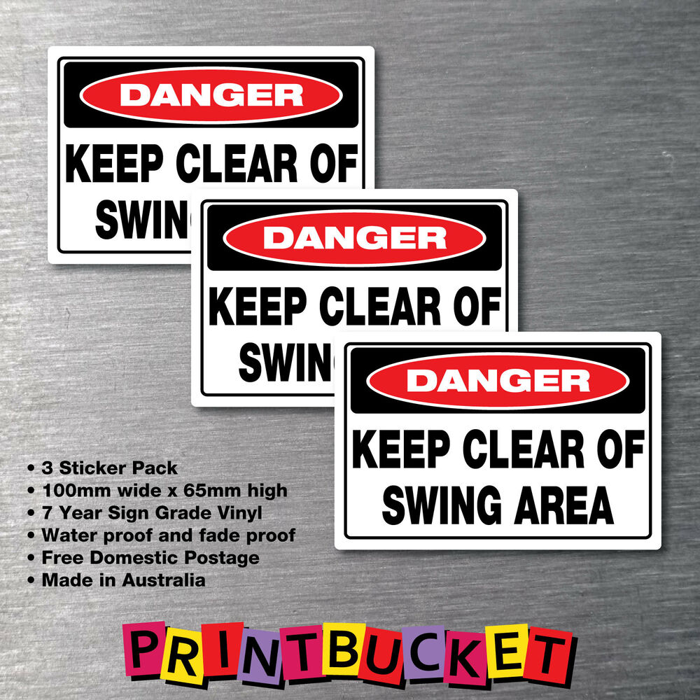 Keep Clear Of Swinging Door : Danger keep clear of swing area sticker pack warning oh
