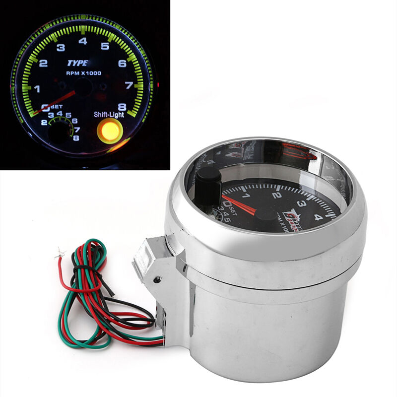 Universal Auto Gauges : Universal car tachometer gauge with shift light rpm