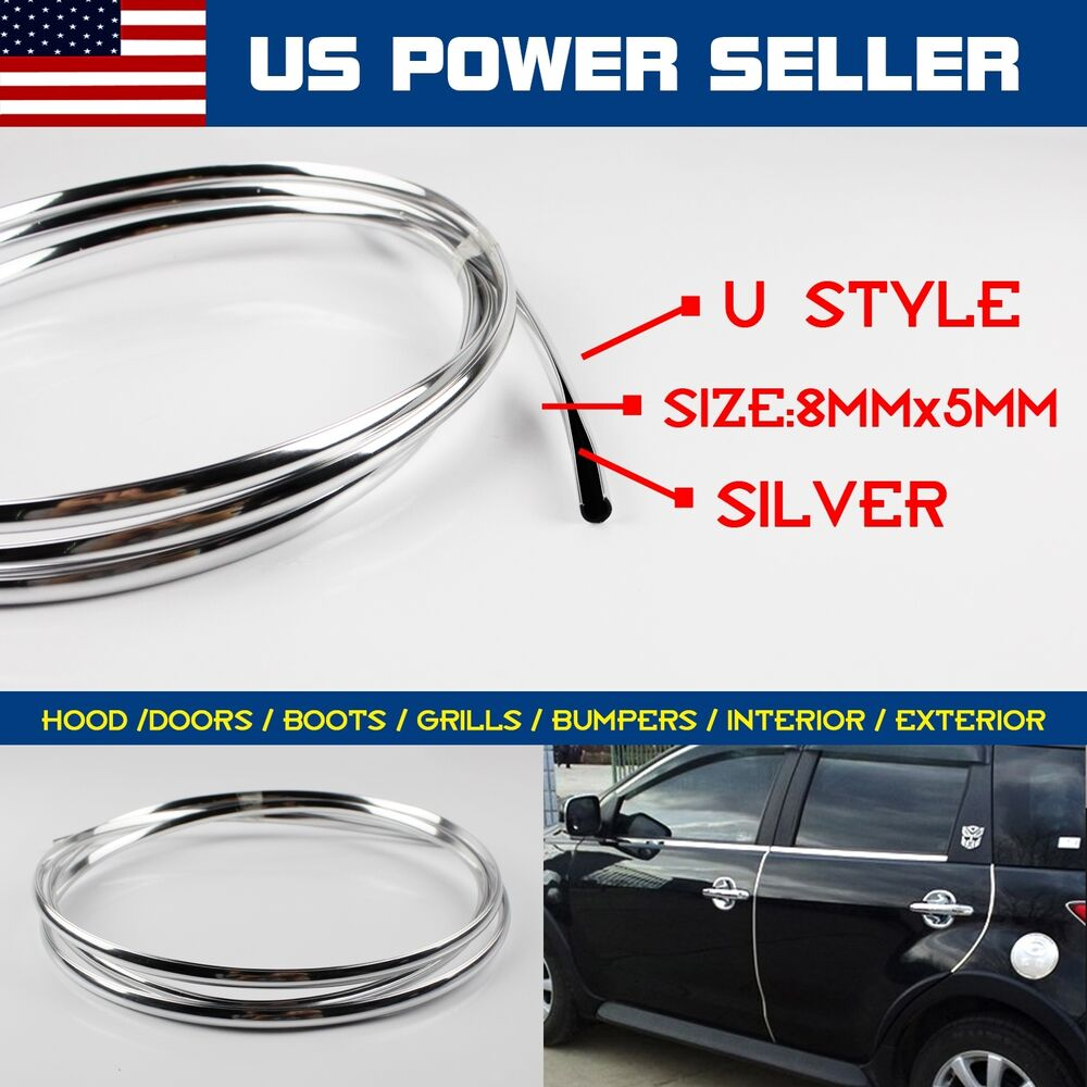35ft car door edge guard moulding chrome trim protect decorate strip universal ebay. Black Bedroom Furniture Sets. Home Design Ideas