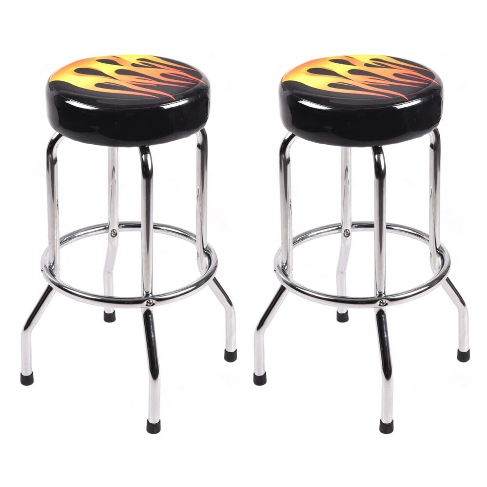 Set Of 2 Modern 29 Counter Height Flame Bar Stools Round Padded Seat Barstools Ebay