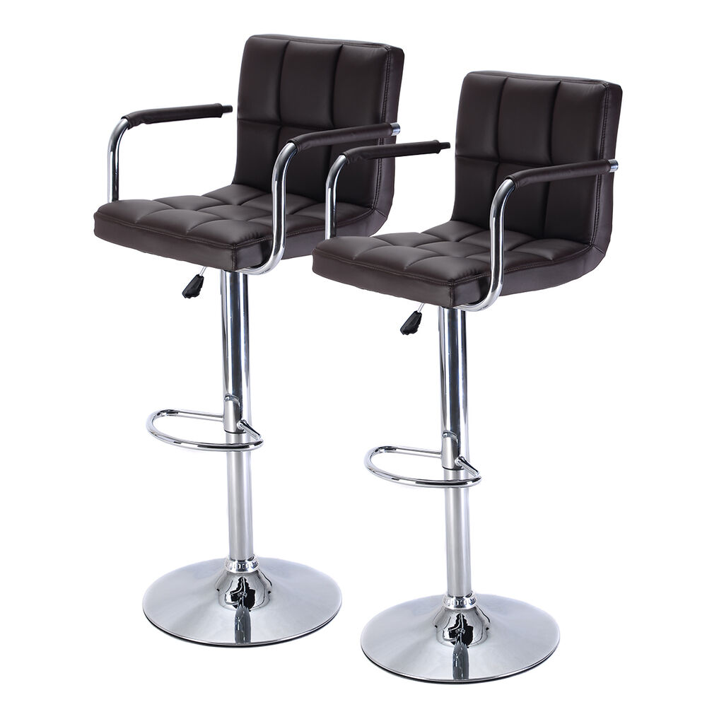 Bar Stool Chairs: Set Of 2 Bar Stool PU Leather Barstools Chair Adjustable