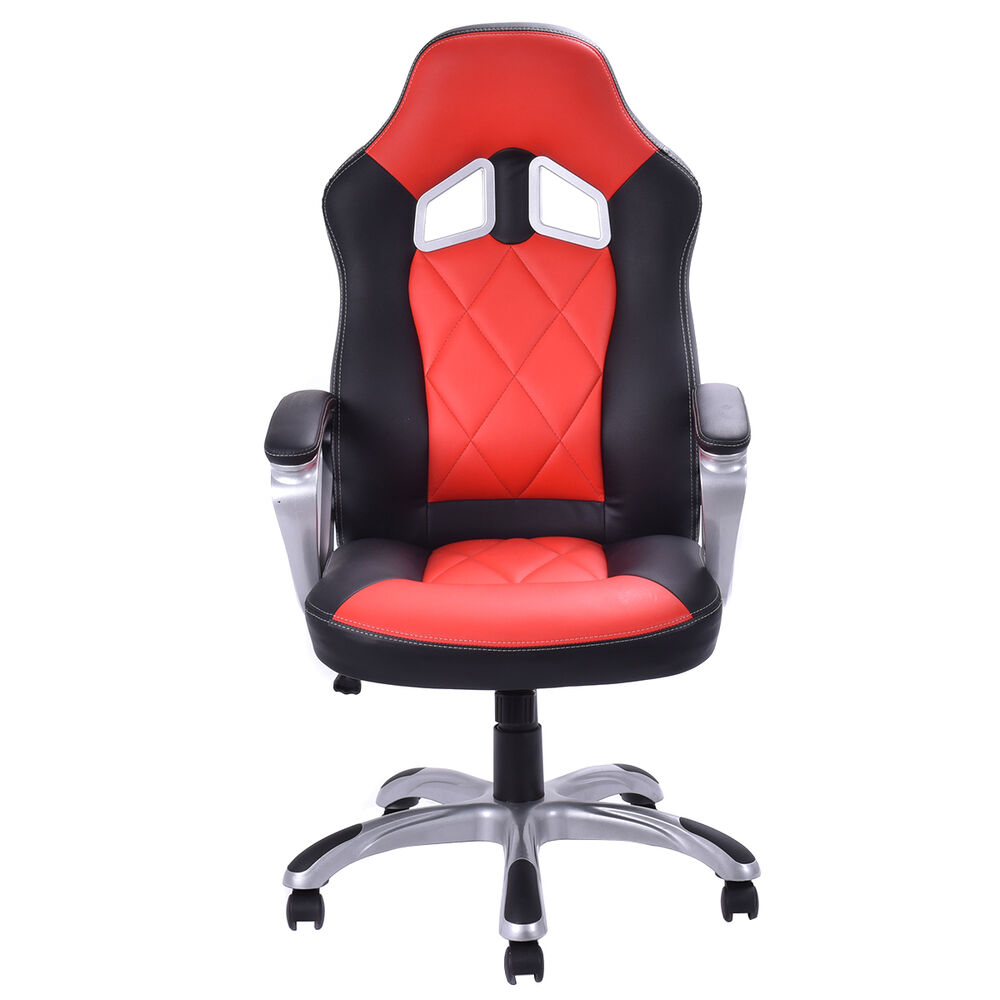 high back racing style bucket seat gaming chair swivel office desk task red new ebay. Black Bedroom Furniture Sets. Home Design Ideas