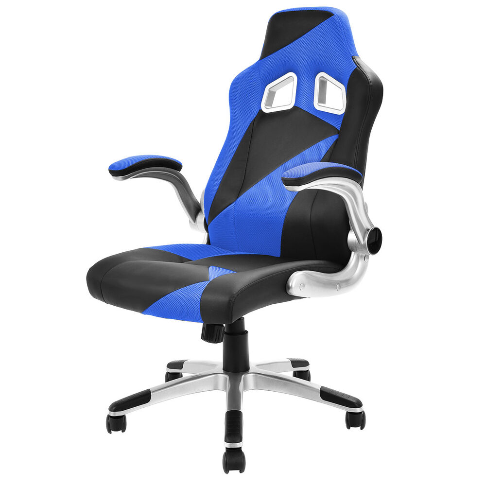 pu leather executive racing style bucket seat office chair desk task computer ebay. Black Bedroom Furniture Sets. Home Design Ideas