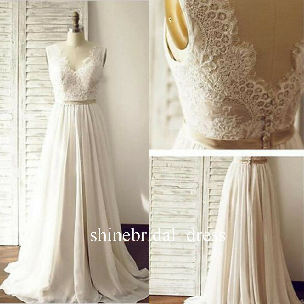 Bohemian 2017 wedding dresses v neck low back lace chiffon for Lace beach wedding dresses