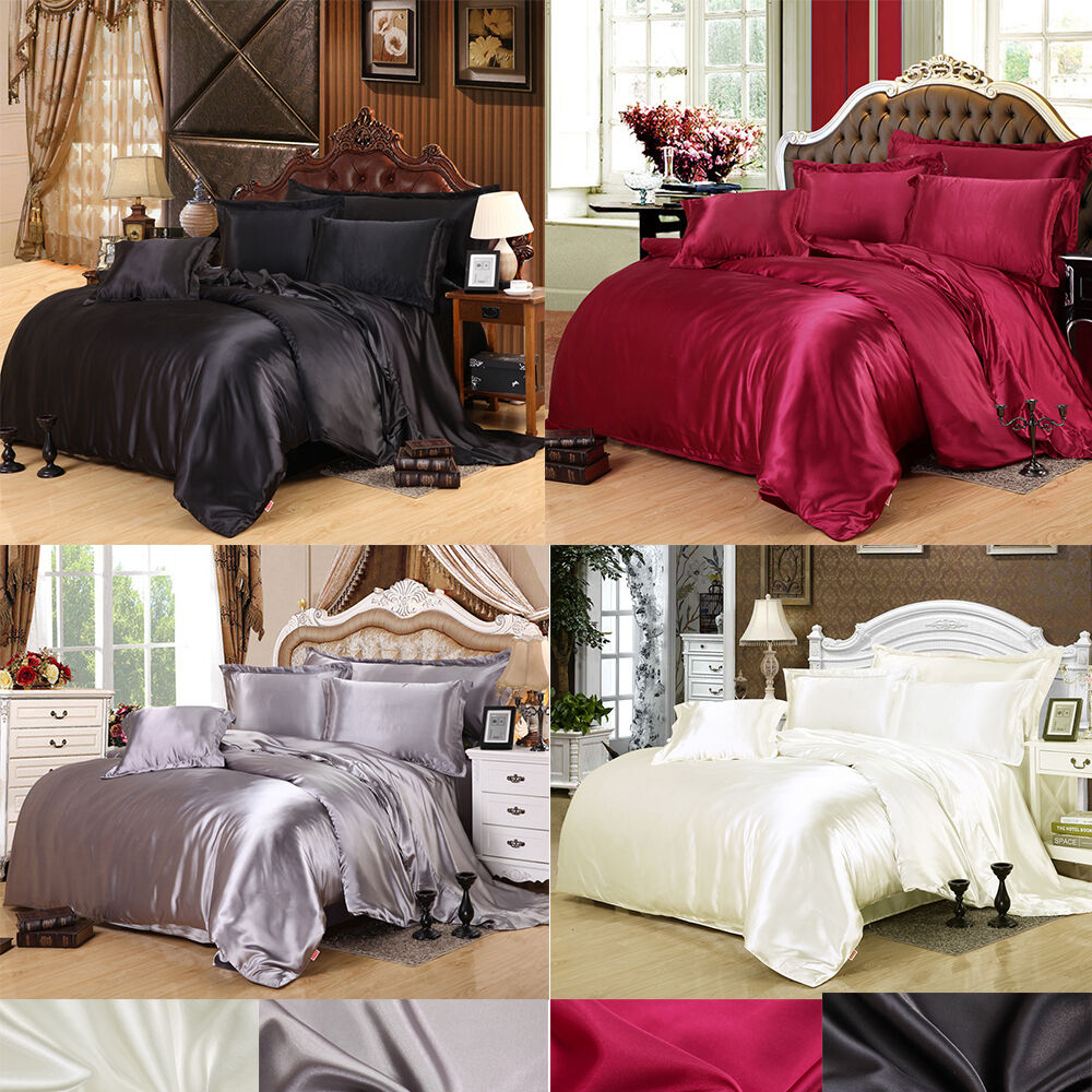 100 Pure Satin Silk Twin Queen King Duvet Cover Sets