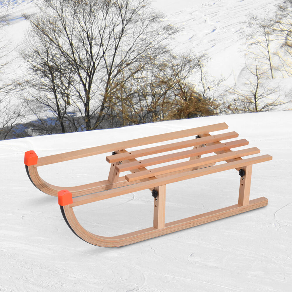 wooden snow sled ski sliding toboggan sleigh sledge kids. Black Bedroom Furniture Sets. Home Design Ideas