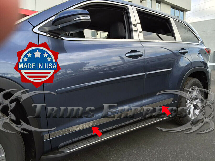 2014 2018 Toyota Highlander 6pc Stainless Steel Body Side
