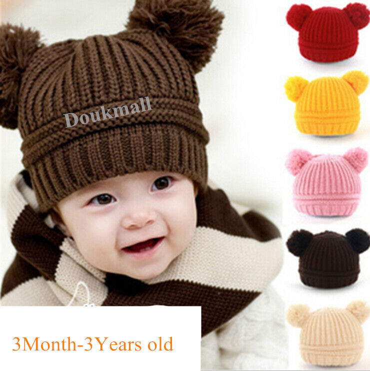 b5be67b780e Details about Infant Fashion Cute Baby Kids Toddler Knit Sweater Cap Winter  Warm Hat Boy Girl