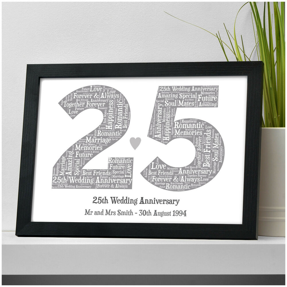 21st Wedding Anniversary Gift Ideas: 25th Silver Wedding Anniversary Gift Personalised Word Art