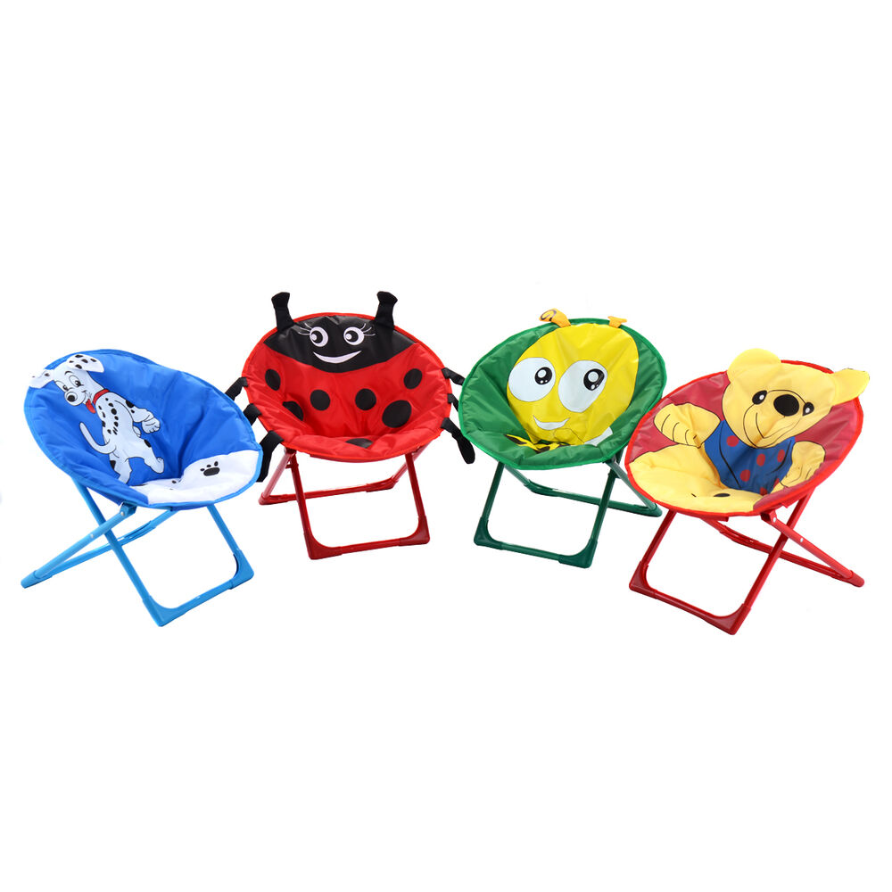 4 Pcs Kids Saucer Chair Moon Chair Folding Round Seat With